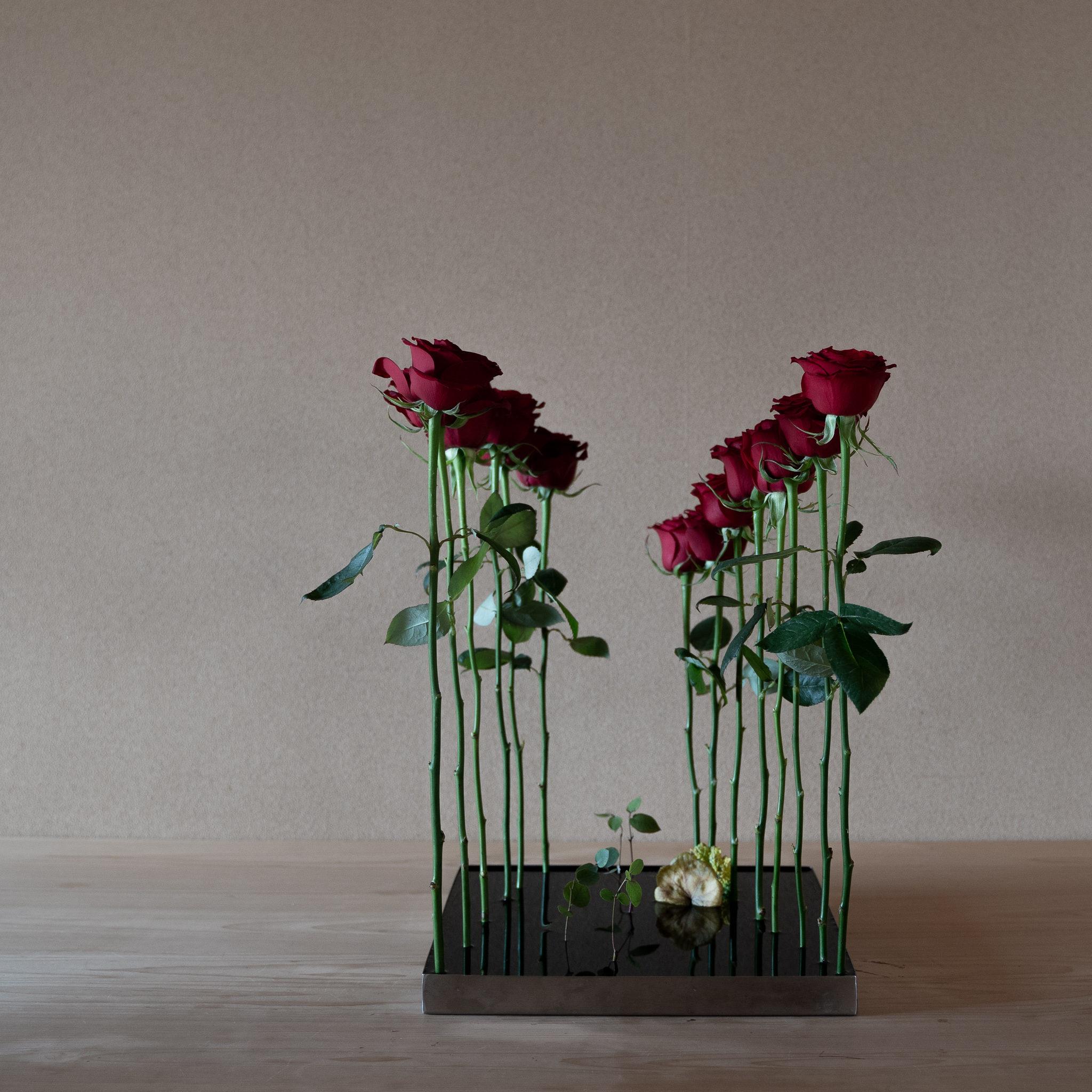 自由花 ばら、ユーカリ、ヒューケラ、菜の花